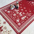 "Jacquard table runner  ""Vallée"" red  Tissus Tosseli"