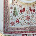 "Jacquard table runner  ""Vallée"" red and green Tissus Tosseli"