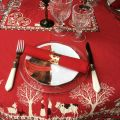 """Jacquard tablecloth """"Plagne"""" red , Tissus Toselli"""