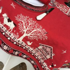 "Square Jacquard tablecloth ""Plagne"" red , Tissus Toselli"