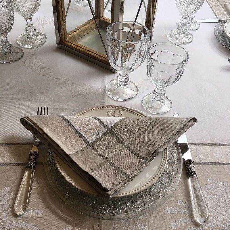 """Serviette de table Sud Etoffe """"Lavandière"""" taupe"""