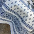 "Coatted cotton round tablecloth ""Bastide"" white and blue ""Marat d'Avignon"""