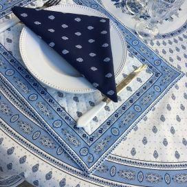 """Set de table matelassé cadré """"Bastide"""" blanc et bleu, Marat d'Avignon"""