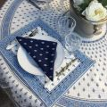 """Bordered quilted placemats """"Bastide"""" White and blue, by Marat d'Avignon"""