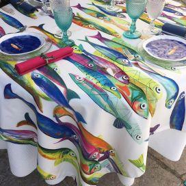 "Tessitura Toscana Tellerie, coton tablecloth ""Poisson Bleu"""