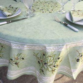 Nappe provençale  ronde en coton Clos des Oliviers vert