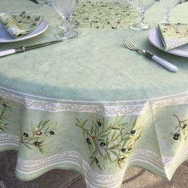 "Round tablecloth in cotton ""Clos des Oliviers"" green color"