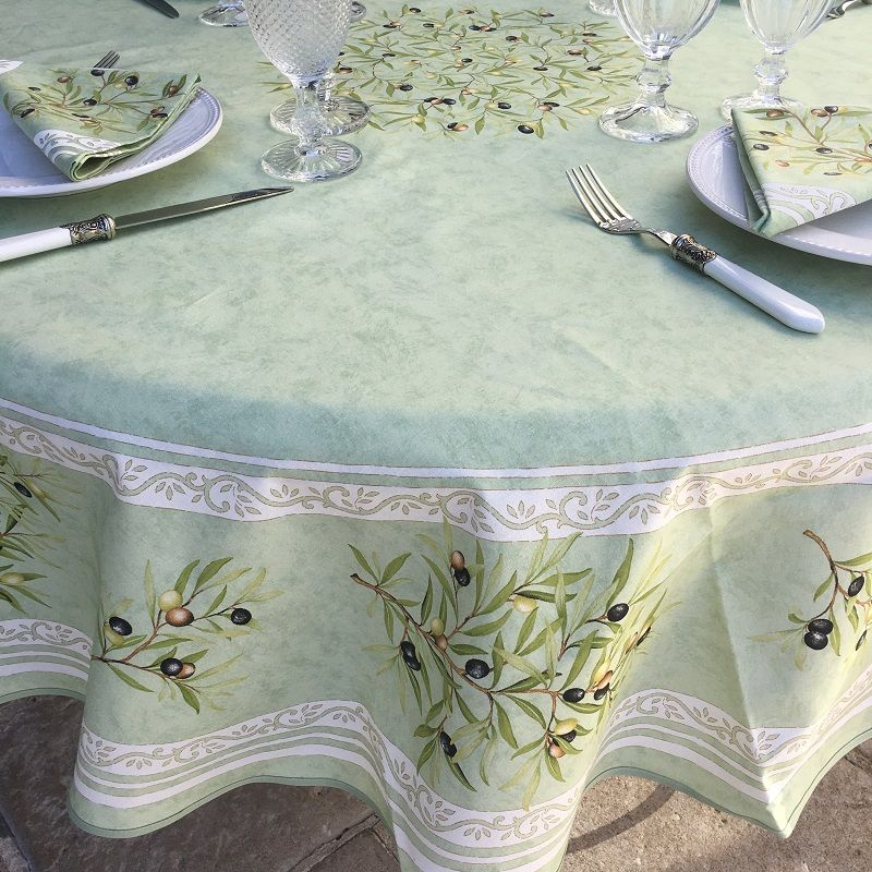 """Round tablecloth in cotton """"Clos des Oliviers"""" green color"""