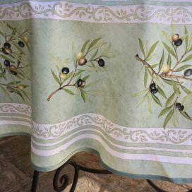 """Provence coated cotton round tablecloth """"Clos des Oliviers"""" green"""