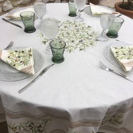 "Provence round coatted cotton tablecloth ""Clos des Oliviers"" Off white"