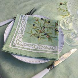"""Serviette en coton """"Clos des Oliviers"""" vert"""