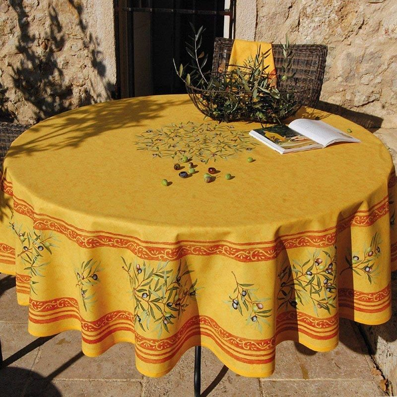 """Round tablecloth in cotton """"Clos des Oliviers""""  yellow and red"""