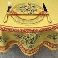 "Provence round coatted cotton tablecloth ""Clos des Oliviers""  yellow and red"