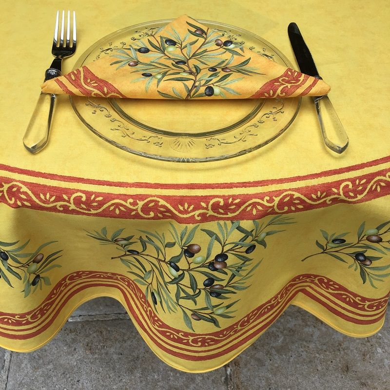 """Provence round coatted cotton tablecloth """"Clos des Oliviers""""  yellow and red"""