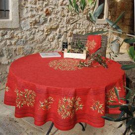 Nappe provençale ronde en coton Clos des Oliviers rouge