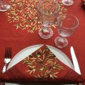 """Round tablecloth in cotton """"Clos des Oliviers""""   red"""