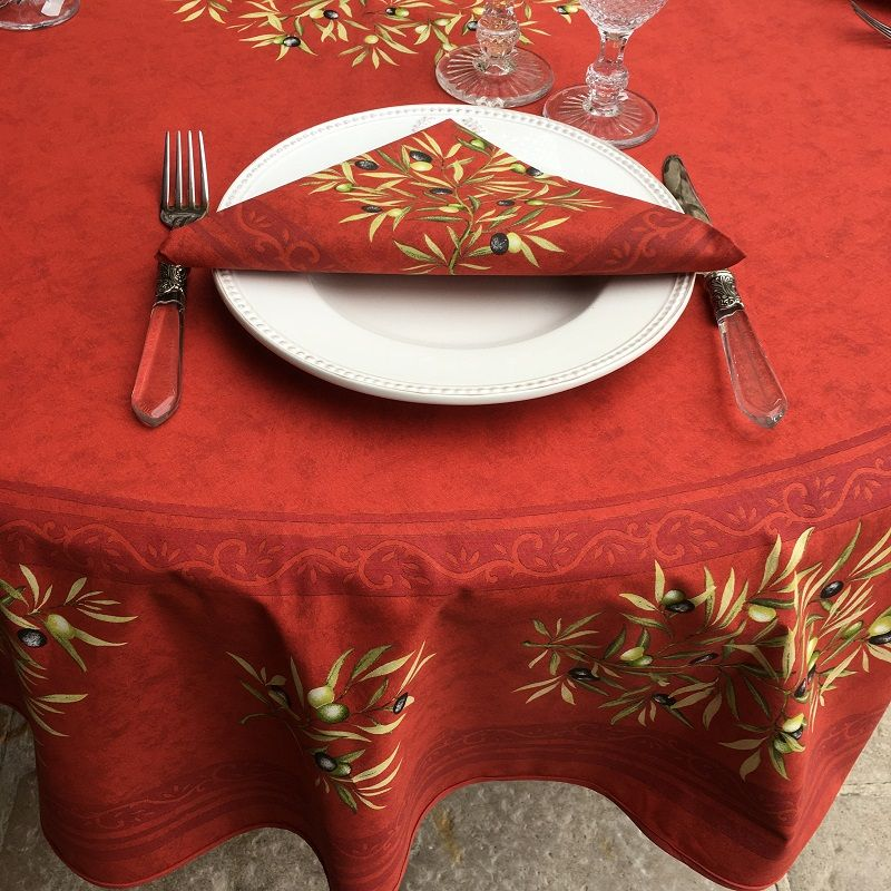 "Provence round coatted cotton tablecloth ""Clos des Oliviers"" red"