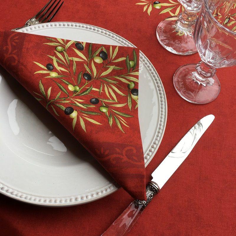 """Cotton napkins """"Clos des Oliviers"""" red"""
