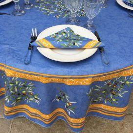 Nappe ronde en coton Clos des Oliviers bleu