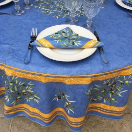 "Round tablecloth in cotton ""Clos des Oliviers"" blue"