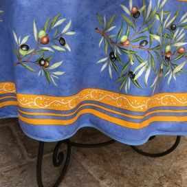 "Provence round coatted cotton tablecloth ""Clos des Oliviers"" blue"