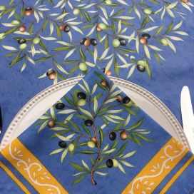 "Cotton napkins ""Clos des Oliviers"" blue"