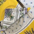 "Cotton napkin ""Lauris"" Lavenders and OLives yellow"
