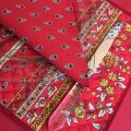 """Quilted cotton placemat """"Avignon"""" red and yellow """"Marat d'Avignon"""""""