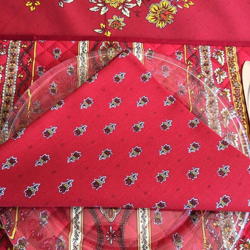 "Cotton napkins ""Avignon"" red and yellow by ""Marat d'Avignon"""