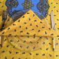 """Cotton napkins """"Tradition"""" yellow and blue by Marat d'Avignon"""