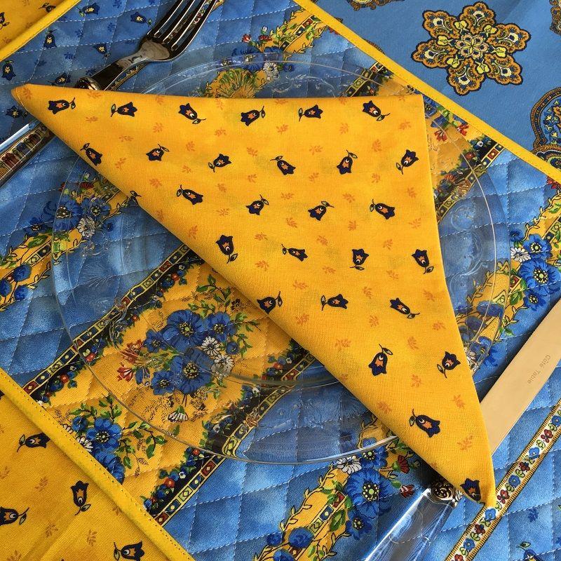 """Serviette en coton """"Tradition"""" jaune et bleue  """"Marat d'Avignon"""