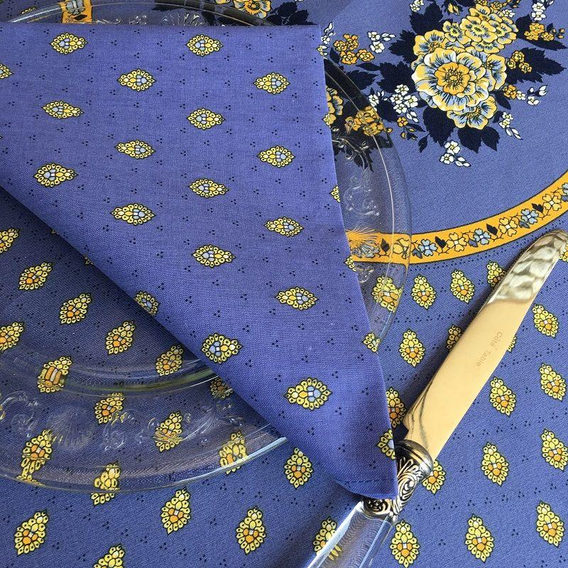 """Cotton napkins """"Bastide""""  bleu and yellow allover by """"Marat d'Avignon"""""""