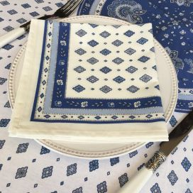 """Serviette en coton """"Mirabeau"""" blanc et bleu"""