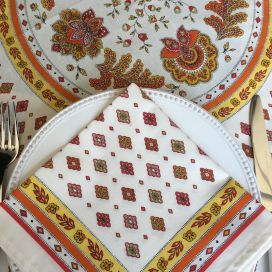 "Cotton napkin ""Mirabeau"" white and orange"
