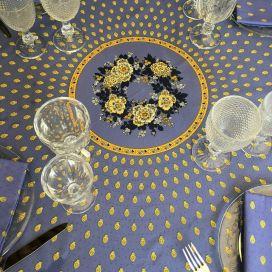 "Round tablecloth in cotton ""Bastide"" blue and yellow ""Marat d'Avignon"""