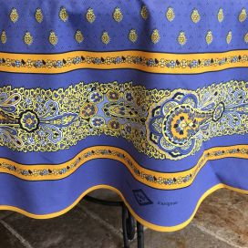 "Round tablecloth in cotton ""Bastide"" blue and yellow ""Marat d'Avignon"""