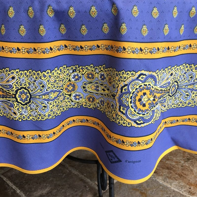 """Coatted cotton round tablecloth """"Bastide"""" blue and yellow """"Marat d'Avignon"""""""