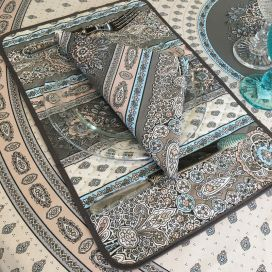 "Quilted cotton placemat ""Bastide"" Grey and turquoise ""Marat d'Avignon"""