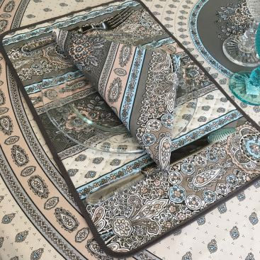 """Quilted cotton placemat """"Bastide"""" Grey and turquoise """"Marat d'Avignon"""""""