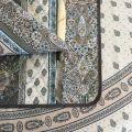 """Set de table en coton matelassé """"Bastide"""" Gris et turquoise """"Marat d'Avignon"""""""