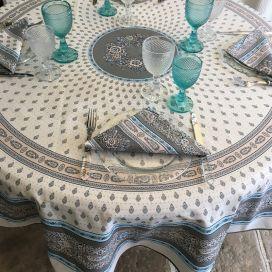 """Nappe provençale ronde en coton """"Bastide"""" Grise et turquoise""""Marat d'Avignon"""""""