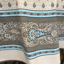 "Coatted cotton round tablecloth ""Bastide"" grey and turquoise ""Marat d'Avignon"""