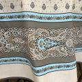 "Coatted cotton round tablecloth ""Bastide"" turquoise ""Marat d'Avignon"""
