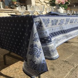 "Rectangular provence cotton tablecloth ""Bastide"" Blue and white ""Marat d'Avignon"""