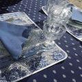 """Nappe rectangulaire coton """"bastide"""" bleue et blanche, """"Marat d'Avignon"""""""