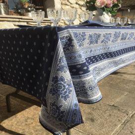 """Nappe provençale rectangulaire en coton enduit """"Bastide"""" bleue et blanche Marat d'Avignon"""
