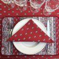 "Rectangular provence cotton tablecloth ""Bastide"" Grey and red ""Marat d'Avignon"""