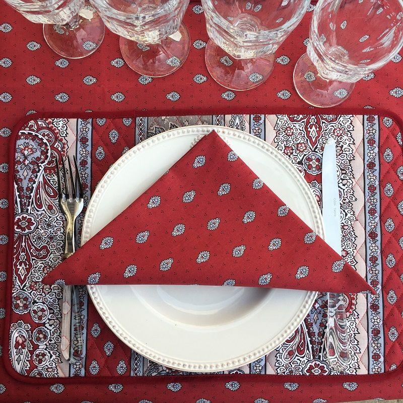"Quilted cotton placemat ""Bastide"" red ""Marat d'Avignon"""