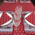 "Cotton table napkins ""Bastide"" red Marat d'Avignon"
