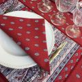 "Cotton table napkins ""Bastide"" red Marat d'Avignon"